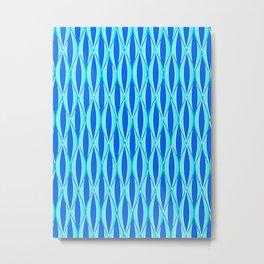 Mid-Century Ribbon Print, Shades of Blue and Aqua Metal Print