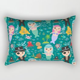 Mermaid with pirate, dark blue sea background Rectangular Pillow
