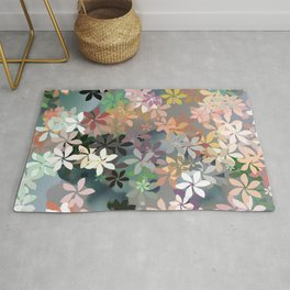 Peachy Flower Garden Rug