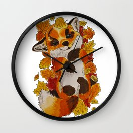 Cute Fox automn Wall Clock