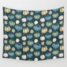 Blue pumpkin pattern Wall Tapestry