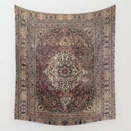 Antique Persia Doroksh Old Century Authentic Dusty Dull Blue Gray Green Vintage Rug Pattern Wall Tapestry