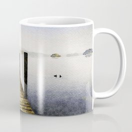 Out Along the Dock. Derwentwater, Lake District, UK. Watercolor Painting. Coffee Mug