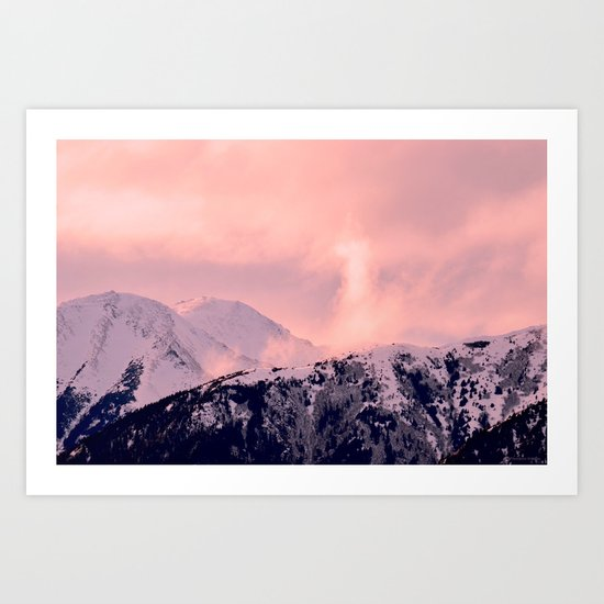 Kenai Mts Bathed in Serenity Rose - II Art Print