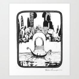 "Vintage Illustration - ""Fantasy Garden Canal Scene"" Art Print"