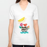 bonjour V-neck T-shirts featuring Bonjour! by Daily Thoughts