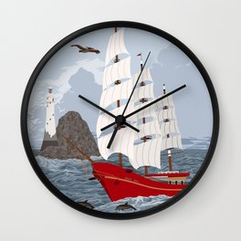 Red ship Wall Clock