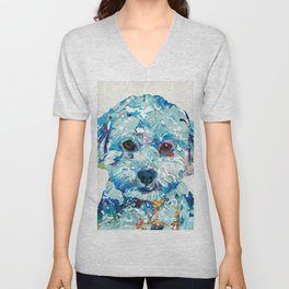 Small Dog Art - Soft Love - Sharon Cummings Unisex V-Neck