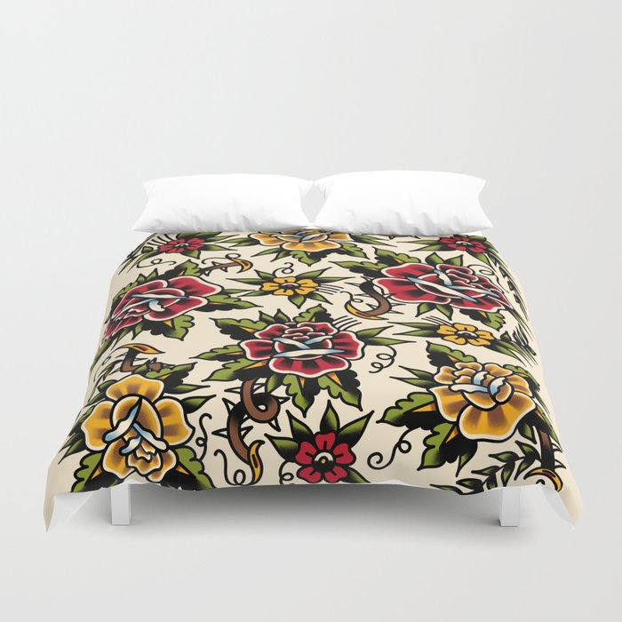 Flower tattoo Duvet Cover