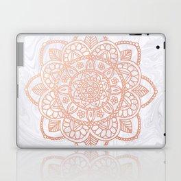 Rose Gold Mandala on White Marble Laptop & iPad Skin