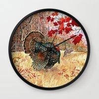 turkey Wall Clocks featuring Woodland Turkey by Edith Jackson-Designs