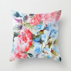 Peonies and Morning Glory Throw Pillow