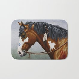 Bay Pinto Native American War Horse Bath Mat