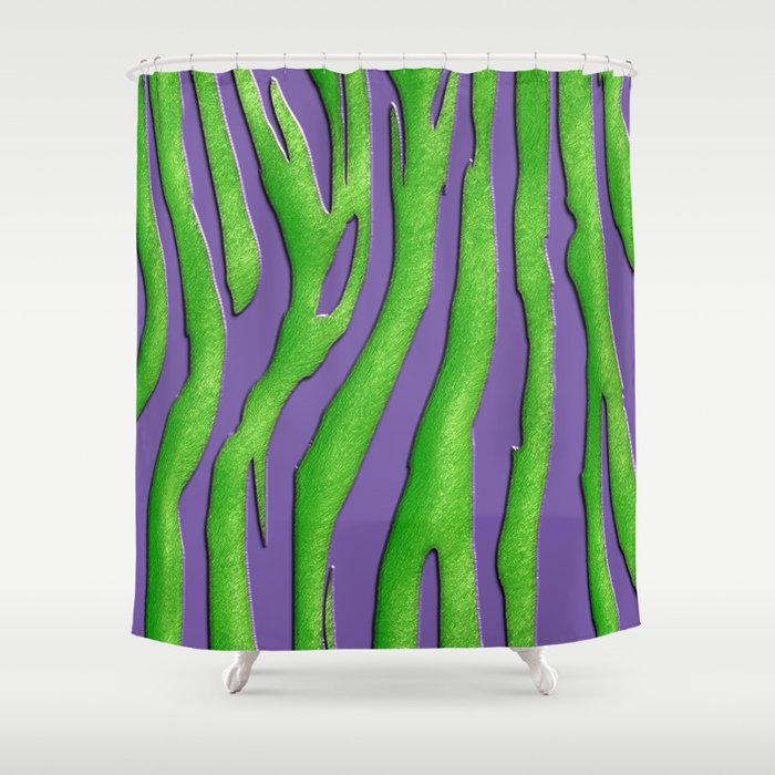 Bright Purple Green Zebra Print Shower Curtain By Serigraphonart