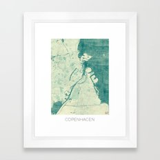 Copenhagen Map Blue Vintage Framed Art Print