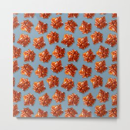 Canadian Maple Syrup Candy Pattern on Grey Blue Metal Print