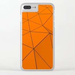 Orange low poly displaced surface with black lines Clear iPhone Case