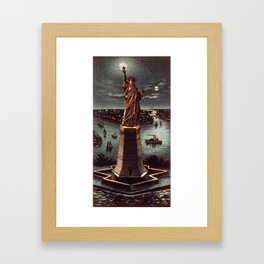 Currier & Ives. - Print c.1884 - Statue of Liberty at night Framed Art Print