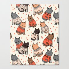 Sweater Cats - by Andrea Lauren Canvas Print