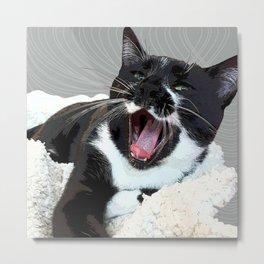 A yawn Cat.    cats, cat, yawn, pattern, pet, feline, animals, Society6. Metal Print