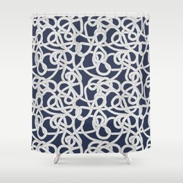 Nautical Rope Knots in Navy Shower Curtain