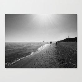 monochrome beach Canvas Print
