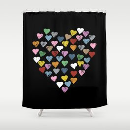 Distressed Hearts Heart Black Shower Curtain