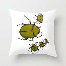 Beetles and bees Throw Pillow