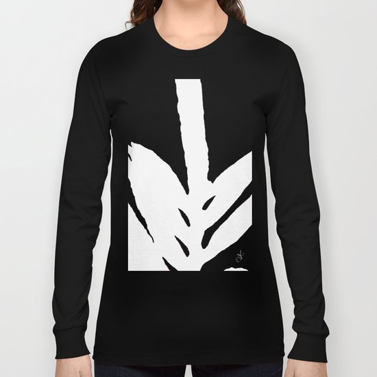 Green Fern White and Black Long Sleeve T-shirt