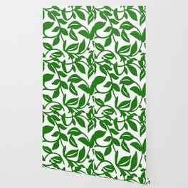 PALM LEAF VINE SWIRL IN GREEN AND WHITE Wallpaper