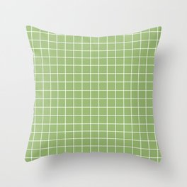 Olivine - green color - White Lines Grid Pattern Throw Pillow