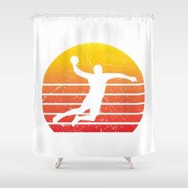 Handball Retro Vintage Player Coach Fan Gift Idea Shower Curtain