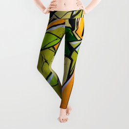 Green and orange graffiti, modern art Leggings
