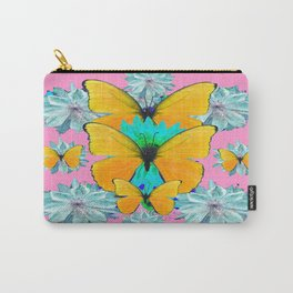 Pretty Pink Yellow Butterflies Flower Pattern Art Carry-All Pouch