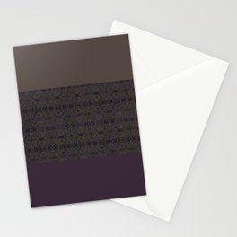 Brown purple patchwork Stationery Cards