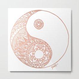 Rose Gold Yin Yang Metal Print