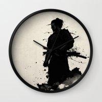 samurai Wall Clocks featuring Samurai by Nicklas Gustafsson