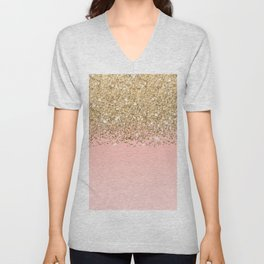 Girly Chic Gold Confetti Pink Gradient Ombre Unisex V-Neck