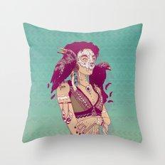 Raven Lady Throw Pillow