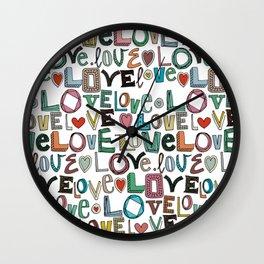 l o v e LOVE white Wall Clock