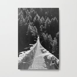 Man walking on the Tibetan bridge Metal Print