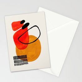 Mid Century Modern Abstract Vintage Pop Art Space Age Pattern Orange Yellow Black Orbit  Stationery Cards