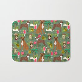 Boxer tiki tropical dog pattern modern pet friendly pet pattern dog breeds Bath Mat