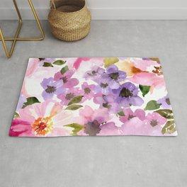 Pink Purple Watercolor Flowers Rug