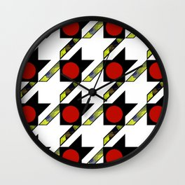 HOUNDSTOOTH PATTERN WITH POLKA DOT EFFECT Wall Clock