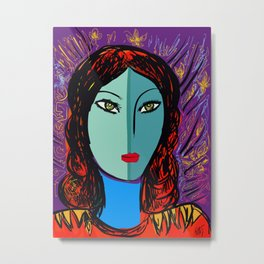 Purple Pop Girl Metal Print