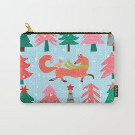 Fox And Bird In A Christmas Tree Winter Wonderland Carry-All Pouch