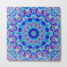 Flower Of Life Mandala (Neon Light) Metal Print
