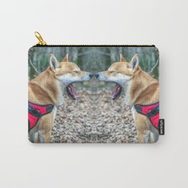 Shiba Inu yelling in the woods Carry-All Pouch
