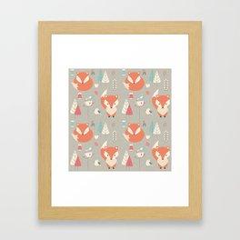 Baby fox pattern 01 Framed Art Print